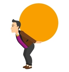 Man carrying big ball vector