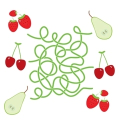 Pear cherry strawberry fruit labyrinth game for vector