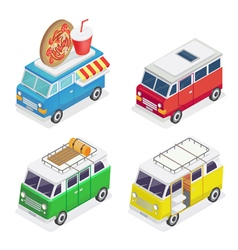 Isometric car food truck family camper transport vector