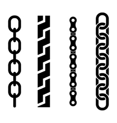Black metal chain parts icons set vector