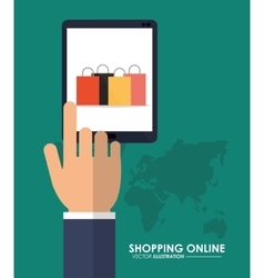 Tablet and shopping bag icon shopping online vector