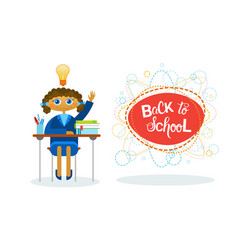 Back to school girl pupil sitting at desk studing vector