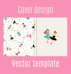 ballerina and confetti pattern cover design vector image