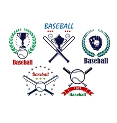 Baseball sporting emblems and symbols vector image vector image