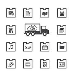 Big data icons set vector