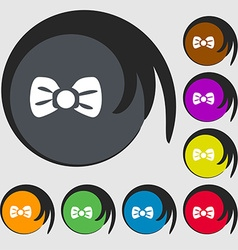 Bow tie icon sign symbols on eight colored buttons vector