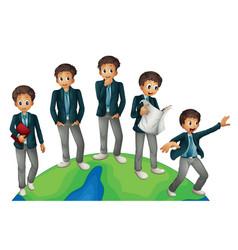 Businessman in different posts around the world vector