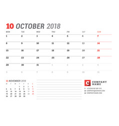 Calendar template for october 2017 business vector