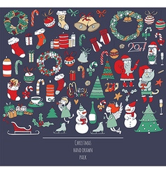 Christmas set of hand drawn doodles in simple vector