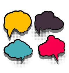 Comic set text empty cartoon colored cloud vector