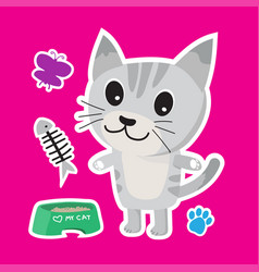 cute cat cartoon sticker set on blue background vector image vector image