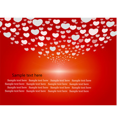 Cute hearts on red background vector