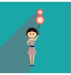 Flat icon with long shadow girl balloon vector