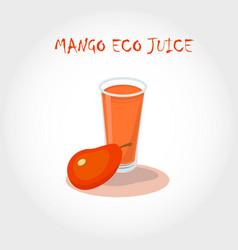 Glass of bio fresh mango juice vector