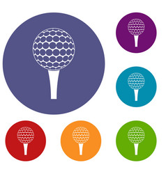 Golf ball on a tee icons set vector