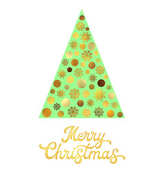 Green christmas tree with gold glitter lettering vector