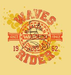 Hawaiian longboard wave rider surfing kids vector