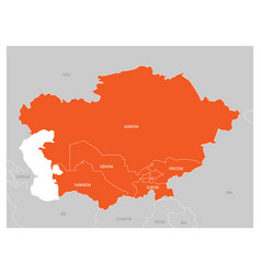 map of central asia region with orange highlighted vector image