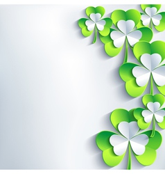Modern St Patricks day card with 3d clover vector image