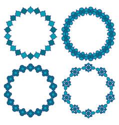 Moroccan blue circle frames vector