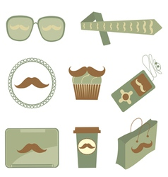 Mustache icons vector image