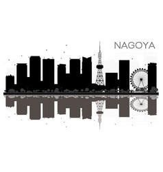 nagoya city skyline black and white silhouette vector image vector image