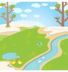 Natural green grass spring background with river vector image vector image