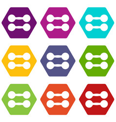 pair of dumbbells icon set color hexahedron vector image