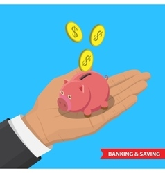 Piggy bank and hand with coin vector image vector image