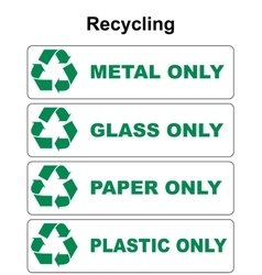 Recycling symbol with different sort of waste vector image vector image