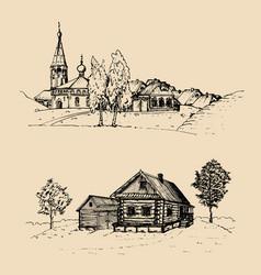 Rural landscape set hand vector