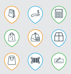 set of 9 e-commerce icons includes money transfer vector image vector image