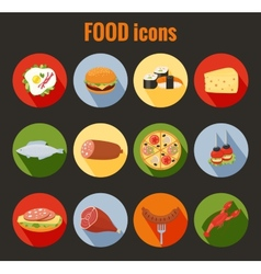 Set of food icons on colorful round buttons vector