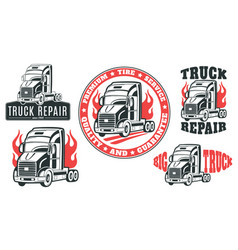 Set of logos truck repair vector