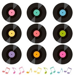 Set of vinil records and music notes vector