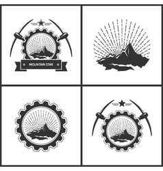 Set of vintage emblem of the mining industry vector