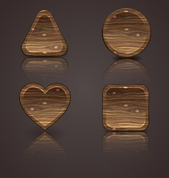 set of wooden icons wood figurines vector image