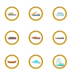 ship icons set cartoon style vector image vector image