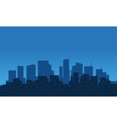 Silhouette of city at night vector image