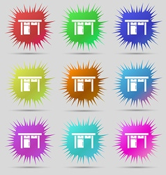 Table icon sign nine original needle buttons vector