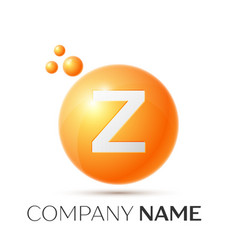Z letter splash orange dots and circle bubble vector
