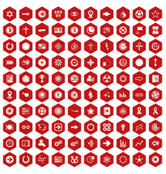 100 graphic elements icons hexagon red vector