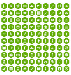 100 help icons hexagon green vector