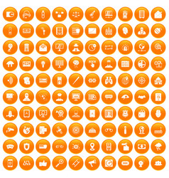 100 security icons set orange vector