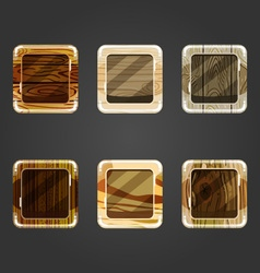 Set of shiny wooden concave square button vector