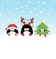 Costumed Penguins With Paper vector image