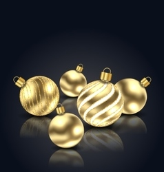 Christmas golden balls with reflection vector