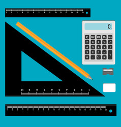 Set of math tool icons isolated on blue background vector