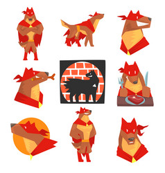 Dog superhero character in action set dog in vector