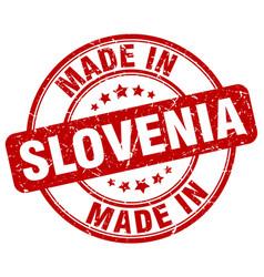 Made in slovenia red grunge round stamp vector